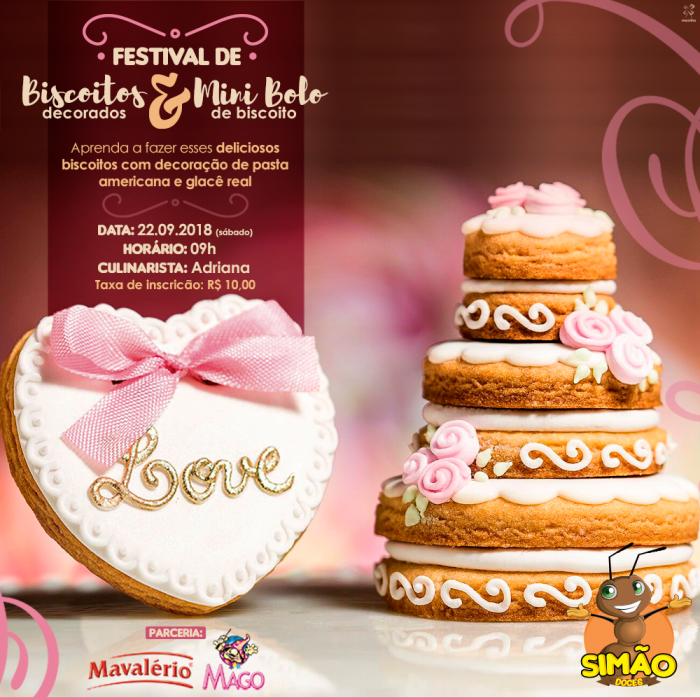 Curso de Biscoitos Decorados e um lindo mini bolo de biscoito